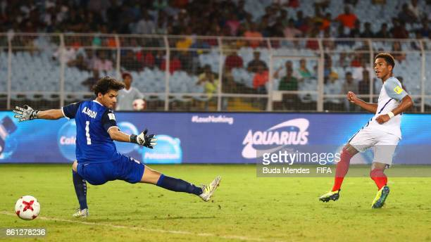 Daniel Loader of England scores for the goal during the FIFA U17 World Cup India 2017 group F match between England and Iraq at Vivekananda Yuba...