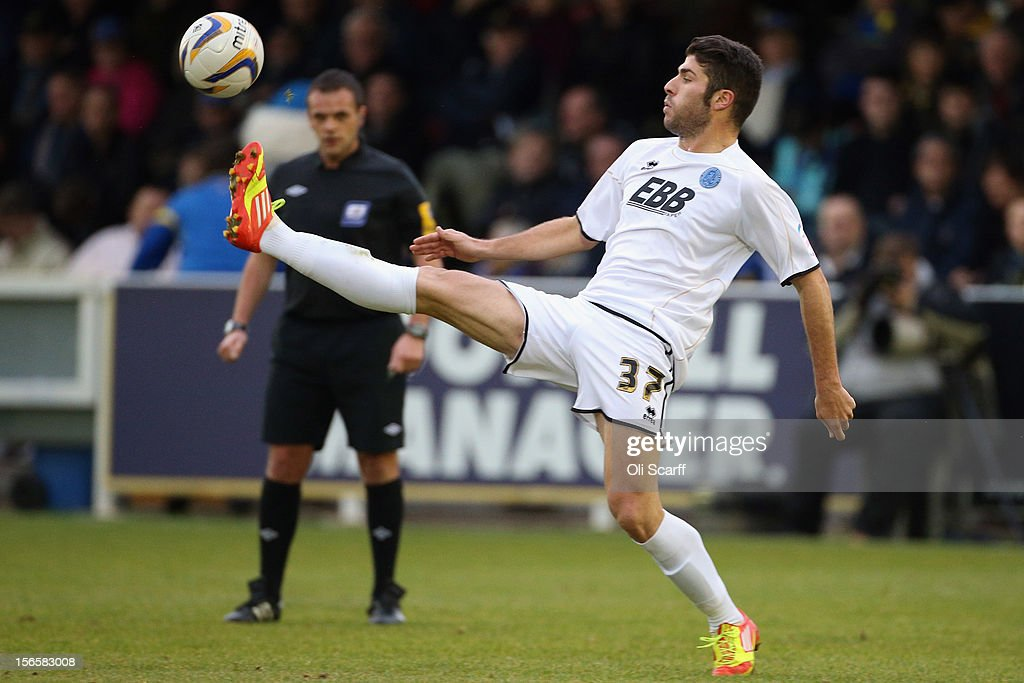 Daniel Lopez of Aldershot Town controls the ball during the npower League Two match between AFC Wimbledon and Aldershot Town at the Cherry Red Records Stadium on November 17, 2012 in Kingston upon Thames, England.