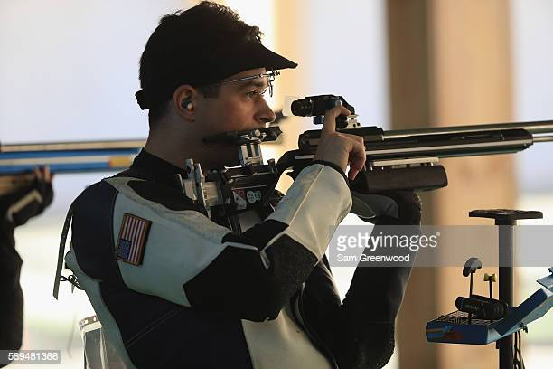 Daniel Lowe of the United States competes in the 50m rifle hree position qualifying event on Day 9 of the Rio 2016 Olympic Games at the Olympic...