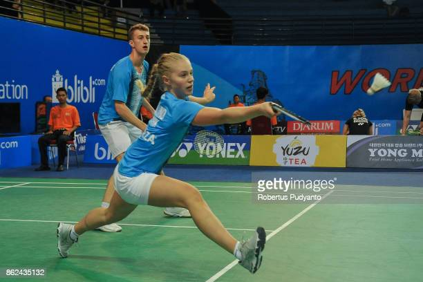 Daniel Lundgaard and Amalie Magelund of Denmark compete against Sothon Wachirawit and Supisara Paewsampran of Thailand during Mixed Double...