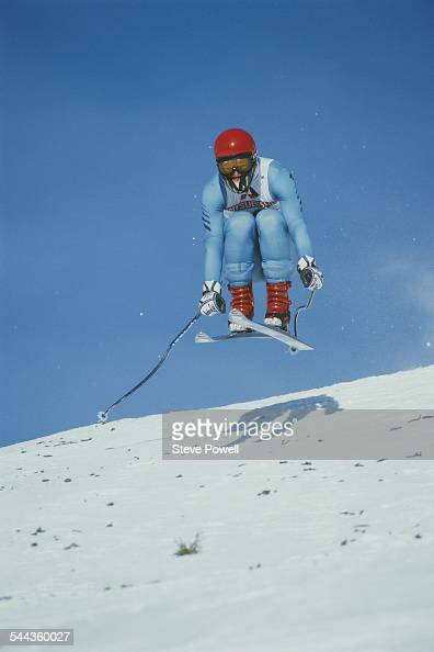 Daniel Mahrer of Switzerland during the International Ski Federation Men's downhill at the Alpine Skiing World Cup event on 9 January 1984 in...