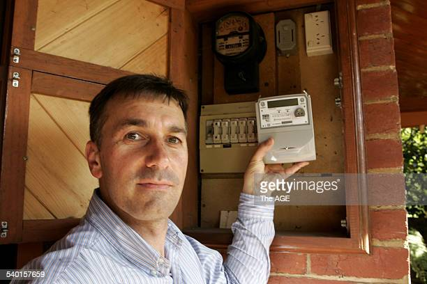 Daniel Marsic with new smart electricity meter to be fitted to his home next week as part of a trial on 1 February 2007 THE AGE NEWS Picture by...