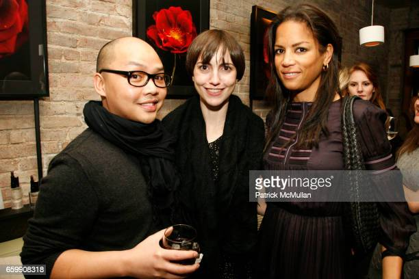 Daniel Martin Catherine Piercy and Veronica Webb attend Cle de Peau Beaute Spring 2010 Cocktail Reception to Benefit More Gardens at Ze Cafe on...