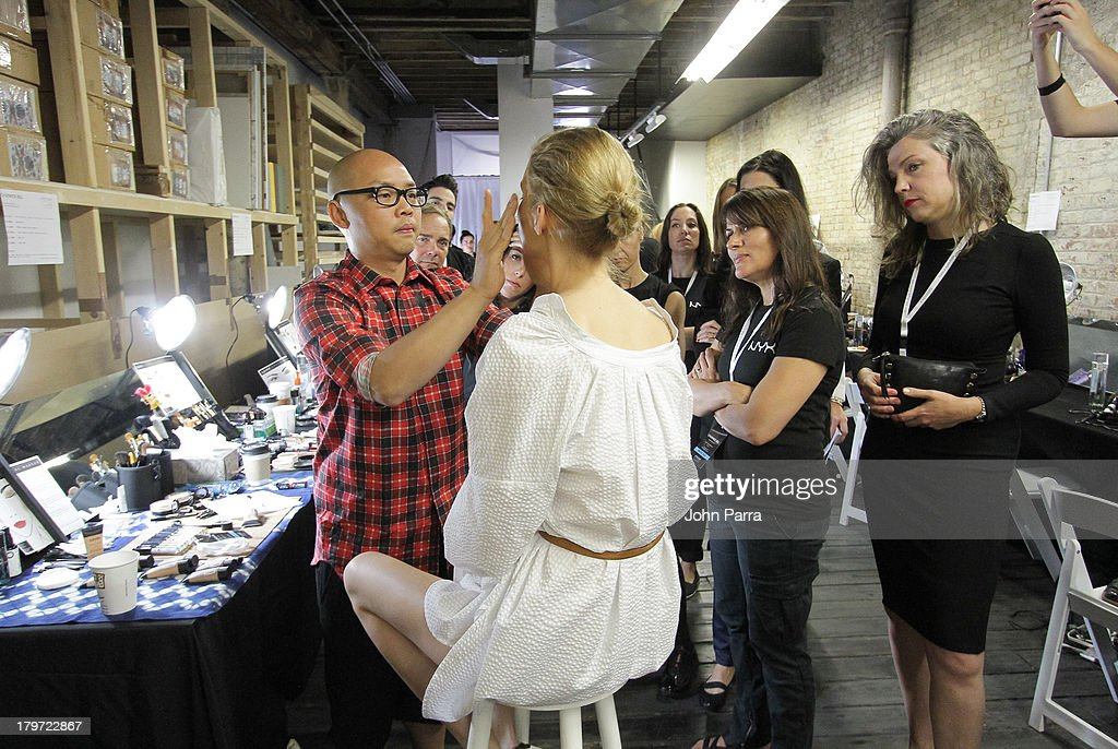 Daniel Martin lead Makeup Artist backstage at the NYX Cosmetics Official Makeup Sponsor of Chadwick Bell Spring/Summer 2014 at Hosfelt Gallery on September 6, 2013 in New York City.