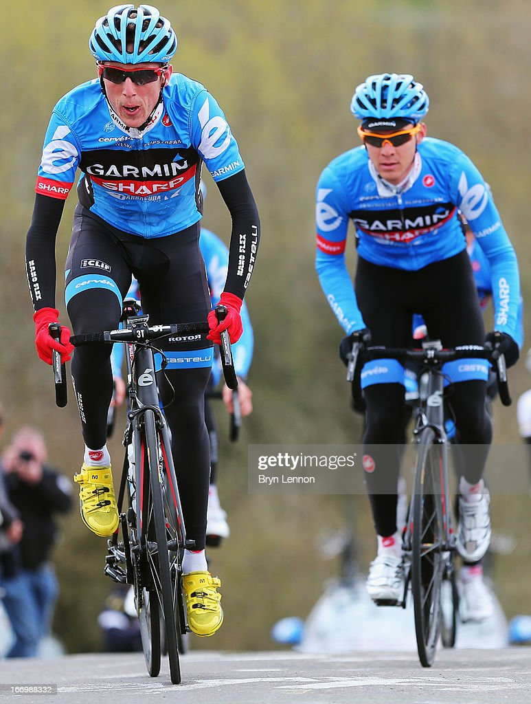 Daniel Martin of Ireland and Garmin-Sharp climbs the Cote de La Redoute during training for the 99th Liege-Bastogne-Liege cycle road race on April 19, 2013 in Liege, Belgium. (Photo by Bryn Lennon/Getty Images).