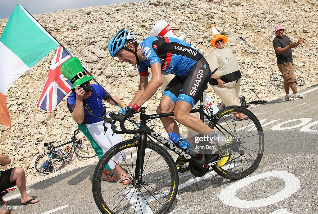Daniel Martin of Ireland and Team Garmin-Sharp in action during stage fifteen of the 2013 Tour de France, a 242.5KM road stage from Givors to Mont Ventoux, on July 14, 2013 in Mont Ventoux, France.