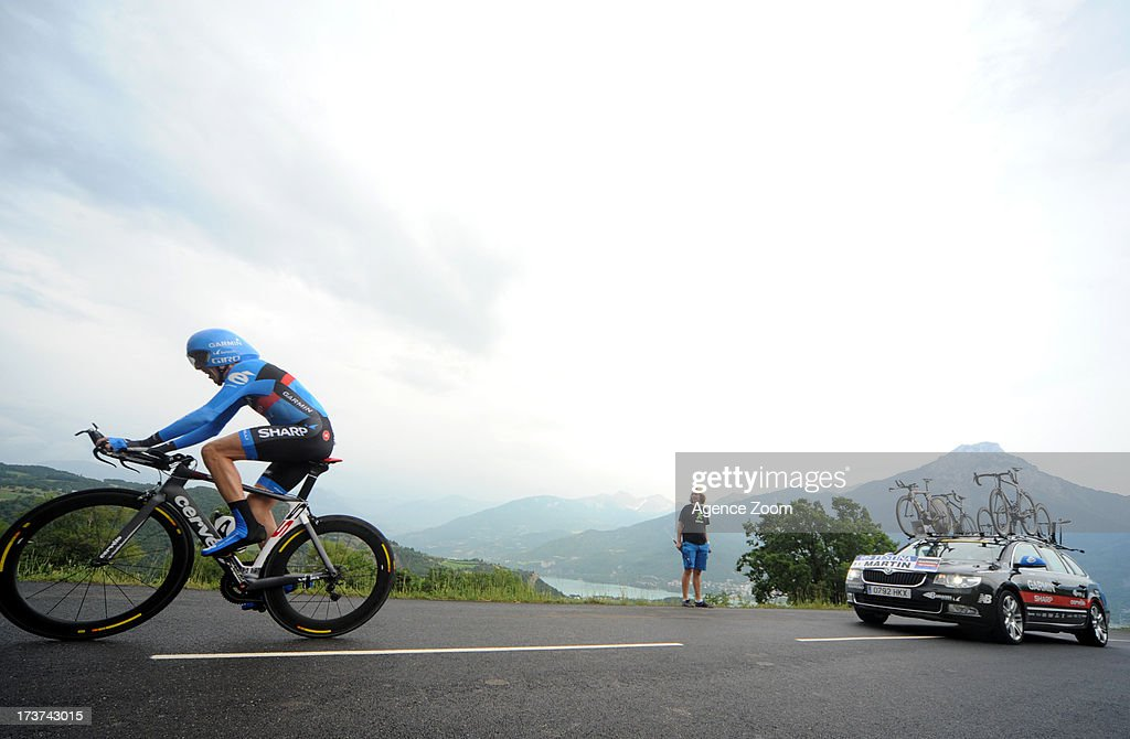 Daniel Martin of Ireland and Team Garmin-Sharp in action during stage seventeen of the 2013 Tour de France, a 32KM Individual Time Trial from Embrun to Chorges, on July 17, 2013 in Chorges, France.