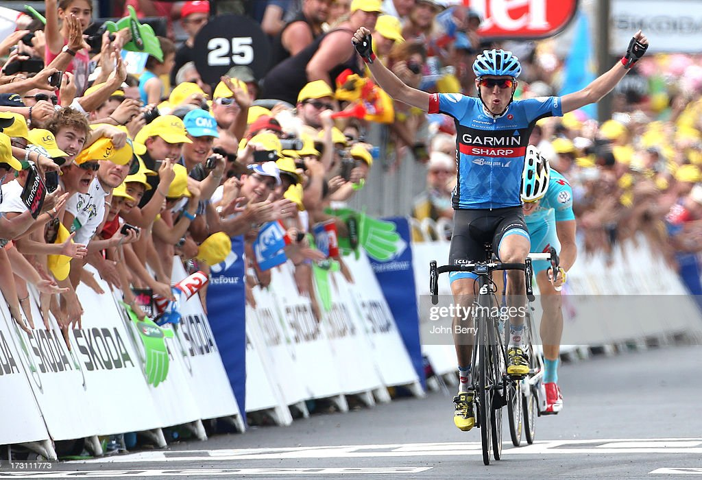 Daniel Martin of Ireland and Team Garmin-Sharp wins Stage Nine of the Tour de France 2013 - the 100th Tour de France -, a 168.5KM road stage between Saint-Girons and Bagneres-de-Bigorre on July 7, 2013 in Bagneres-de-Bigorre, France.