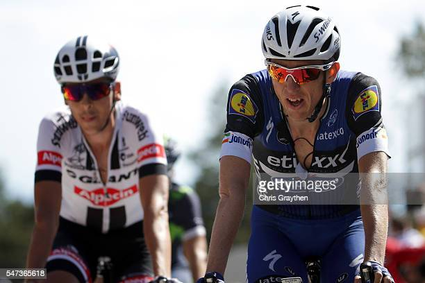 Daniel Martin of Ireland riding for EtixxQuick Step crosses the finish line during stage twelve a 178km stage from Monpellier to ChaletReynard near...