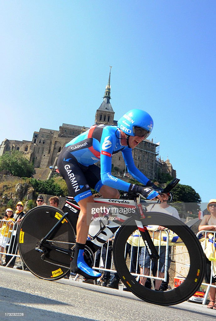 Daniel Martin of Team Garmin-Sharp during Stage 11 of the Tour de France from Avranches to Mont-Saint-Michel on July 10, 2013 in Mont-Saint-Michel, France.