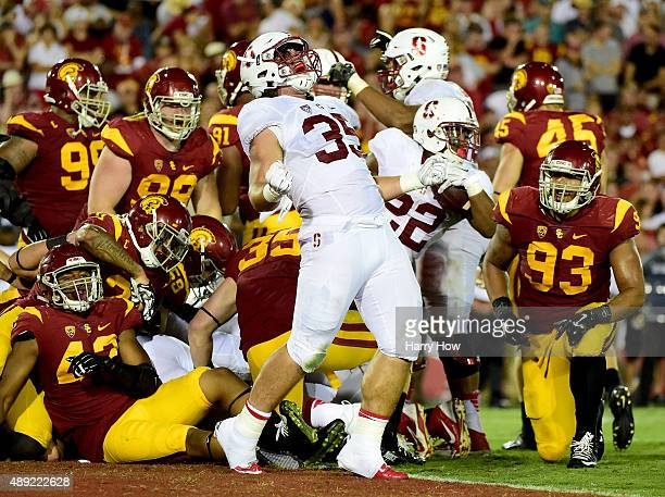 Daniel Marx of the Stanford Cardinal celebrates the touchdown of Remound Wright to take a 3428 lead over USC Trojans during the third quarter at Los...