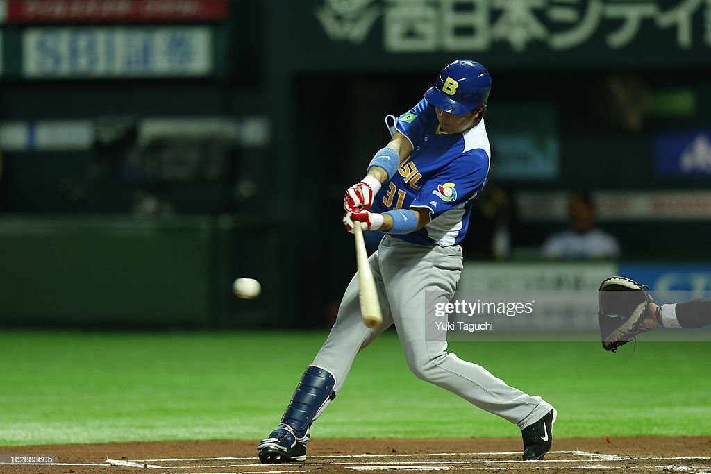 Daniel Matsumoto #31 of Team Brazil bats during the World Baseball Classic exhibition game against the SoftBank Hawks at the Fukuoka Yahoo! Japan Dome on Thursday, February 28, 2013 in Fukuoka, Japan.