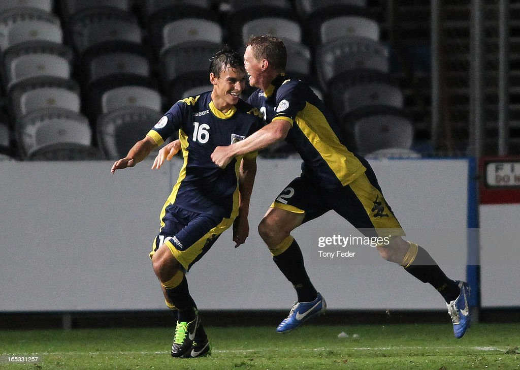 <a gi-track='captionPersonalityLinkClicked' href=/galleries/search?phrase=Daniel+McBreen&family=editorial&specificpeople=2229191 ng-click='$event.stopPropagation()'>Daniel McBreen</a> and Trent Sainsbury of the Mariners celebrate a goal during the AFC Asian Champions League match between the Central Coast Mariners and Guizhou at Bluetongue Stadium on April 3, 2013 in Gosford, Australia.