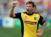 Daniel McBreen of the Mariners argues with the referee during the round 13 ALeague match between the Central Coast Mariners and the Melbourne Heart...