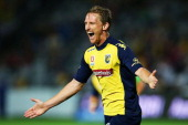 Daniel McBreen of the Mariners celebrates after scoring during the round 16 ALeague match between the Central Coast Mariners and the Newcastle Jets...