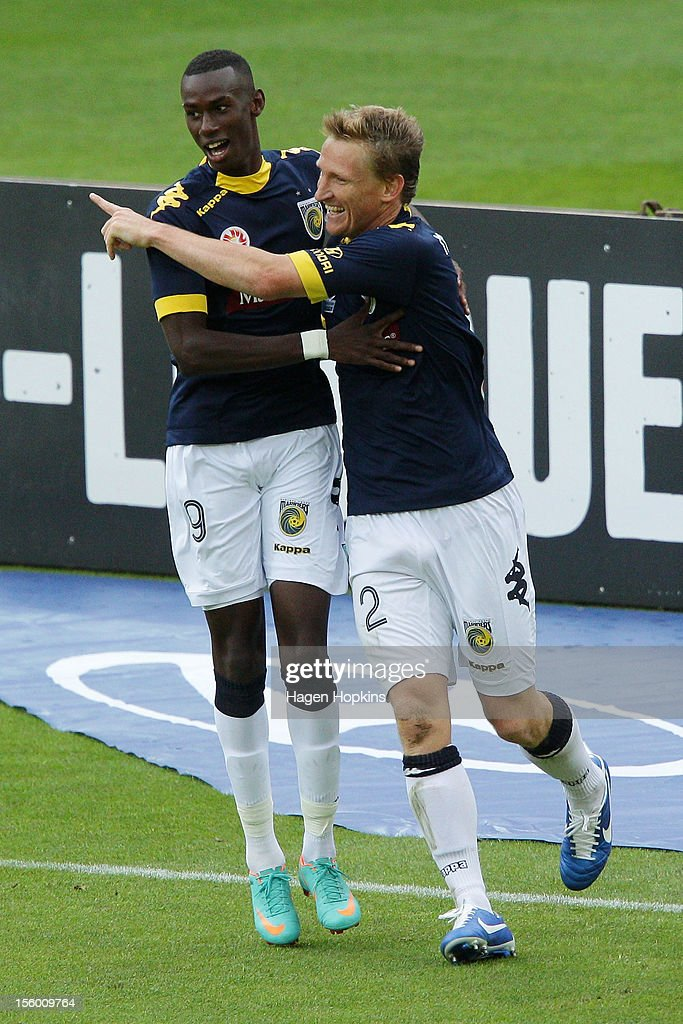 Daniel McBreen of the Mariners celebrates his goal with Bernie Ibini during the round six A-League match between the Wellington Phoenix and the Central Coast Mariners at Westpac Stadium on November 11, 2012 in Wellington, New Zealand.