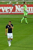 Daniel McBreen of the Mariners reacts after missing a direct penalty while Glen Moss of the Phoenix looks on during the round 14 ALeague match...