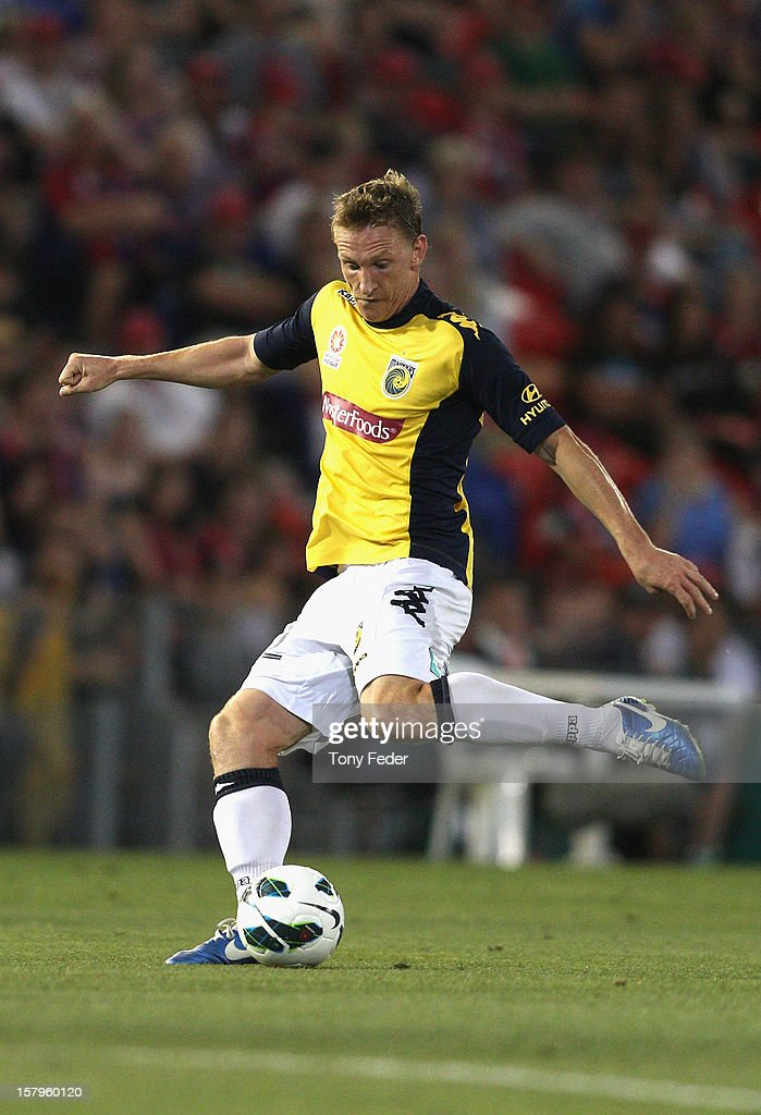 Daniel McBreen of the Mariners takes a shot at goal during the round ten A-League match between the Newcastle Jets and the Central Coast Mariners at Hunter Stadium on December 8, 2012 in Newcastle, Australia.