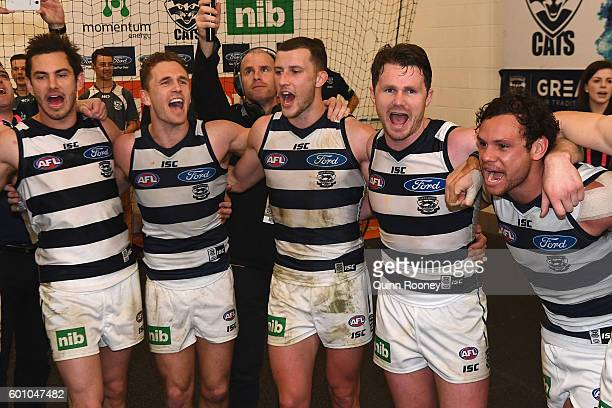 Daniel Menzel Joel Selwood Sam Menegola Patrick Dangerfield and Steven Motlop of the Cats sing the song in the rooms after winning the 2nd AFL...