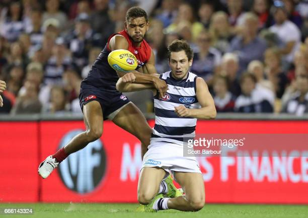 Daniel Menzel of the Cats and Neville Jetta of the Demons compete for the ball during the round three AFL match between the Geelong Cats and the...