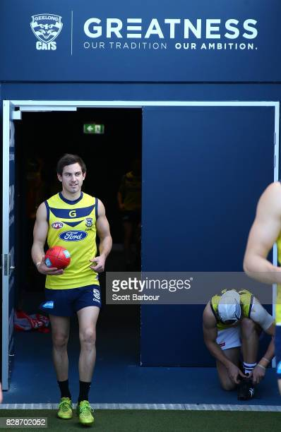 Daniel Menzel of the Cats arrives during a Geelong Cats AFL training session at Simonds Stadium on August 10 2017 in Geelong Australia
