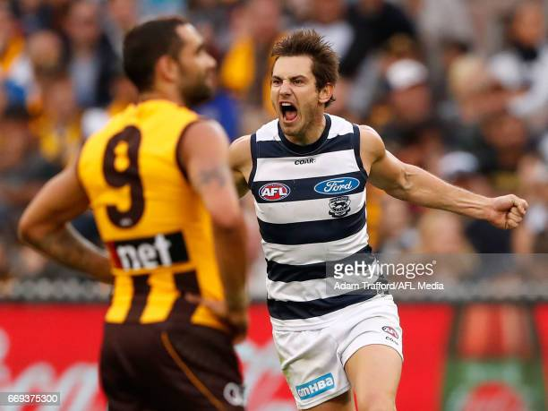 Daniel Menzel of the Cats celebrates a goal during the 2017 AFL round 04 match between the Hawthorn Hawks and the Geelong Cats at the Melbourne...