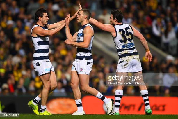 Daniel Menzel of the Cats celebrates a goal during the 2017 AFL round 13 match between the West Coast Eagles and the Geelong Cats at Domain Stadium...