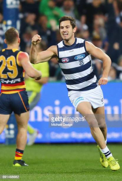 Daniel Menzel of the Cats celebrates a goal during the round 10 AFL match between the Collingwood Magpies and Brisbane Lions at Melbourne Cricket...
