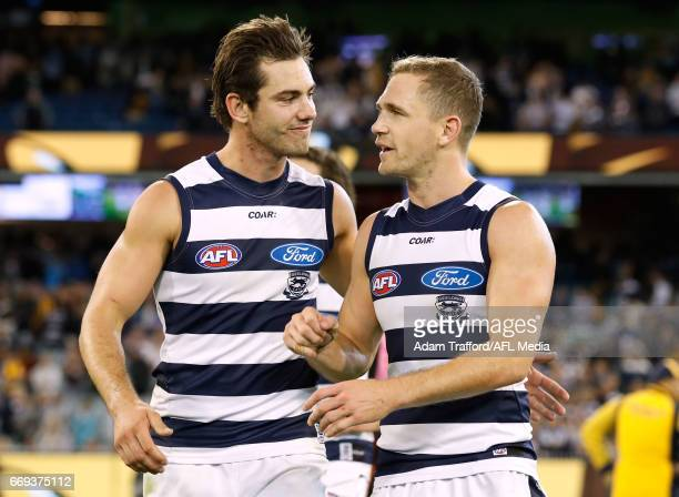 Daniel Menzel of the Cats celebrates with Joel Selwood of the Cats during the 2017 AFL round 04 match between the Hawthorn Hawks and the Geelong Cats...