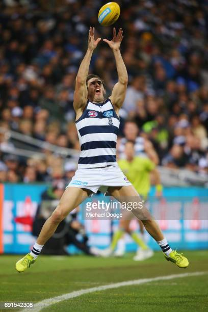 Daniel Menzel of the Cats during the round 11 AFL match between the Geelong Cats and the Adelaide Crows at Simonds Stadium on June 2 2017 in Geelong...