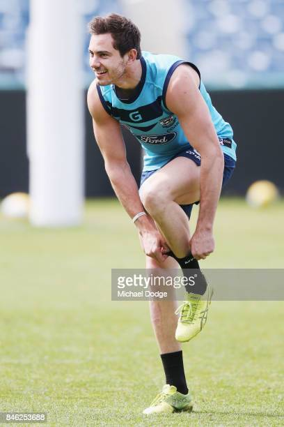 Daniel Menzel of the Cats looks upfield during the Geelong Cats AFL training session at Simonds Stadium on September 13 2017 in Geelong Australia