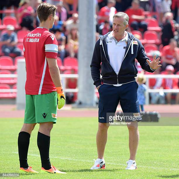 Daniel Mesenhoeler and coach Jens Keller of 1 FC Union Berlin during the training match between SV Victoria Seelow and FC Union Berlin on July 3 2016...