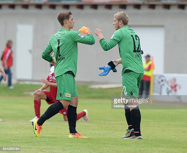 Daniel Mesenhoeler and Jakob Busk of 1 FC Union Berlin during the training match between SV Victoria Seelow and FC Union Berlin on July 3 2016 in...