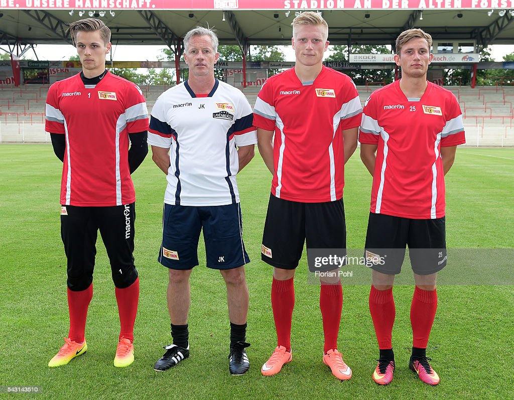 Daniel Mesenhoeler, coach <a gi-track='captionPersonalityLinkClicked' href=/galleries/search?phrase=Jens+Keller&family=editorial&specificpeople=2382918 ng-click='$event.stopPropagation()'>Jens Keller</a>, Kristian Pedersen and Christopher Lenz of 1 FC Union Berlin during training on June 26, 2016 in Berlin, Germany.