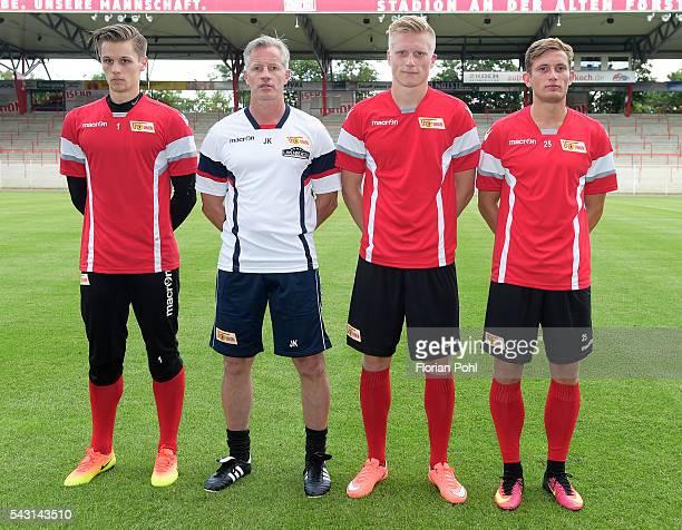 Daniel Mesenhoeler coach Jens Keller Kristian Pedersen and Christopher Lenz of 1 FC Union Berlin during training on June 26 2016 in Berlin Germany