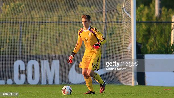 Daniel Mesenhoeler of U20 Germany plays the ball during the match between U20 Germany v U20 England at Sportpark Skoatterwald on October 9 2014 in...