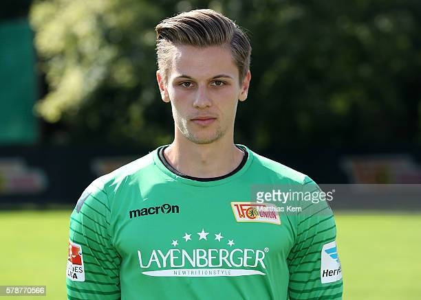 Daniel Mesenhoeler poses during the 1FC Union Berlin team presentation at Stadion an der Alten Foersterei on July 22 2016 in Berlin Germany
