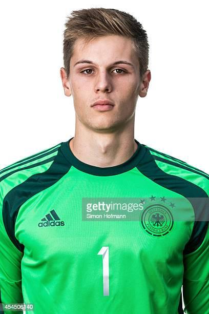 Daniel Mesenhoeler poses during the team presentation of U20 Germany at Waldstadion on September 2 2014 in Homburg Germany