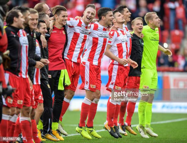 Daniel Mesenhoeler Sebastian Polter Fabian Schoenheim Michael Parensen Christopher Trimmel Simon Hedlund and Jakob Busk of 1 FC Union Berlin after...