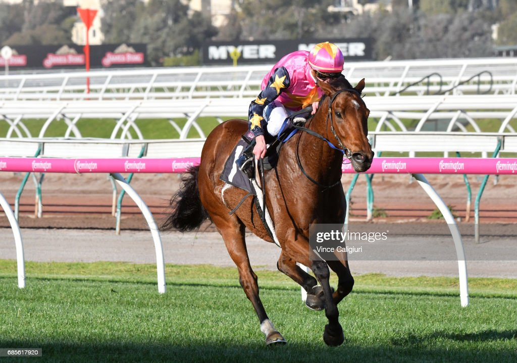 Daniel Moor riding De Little Engine winning Race 6, Andrew Ramsden Stakes during Melbourne Racing at Flemington Racecourse on May 20, 2017 in Melbourne, Australia.