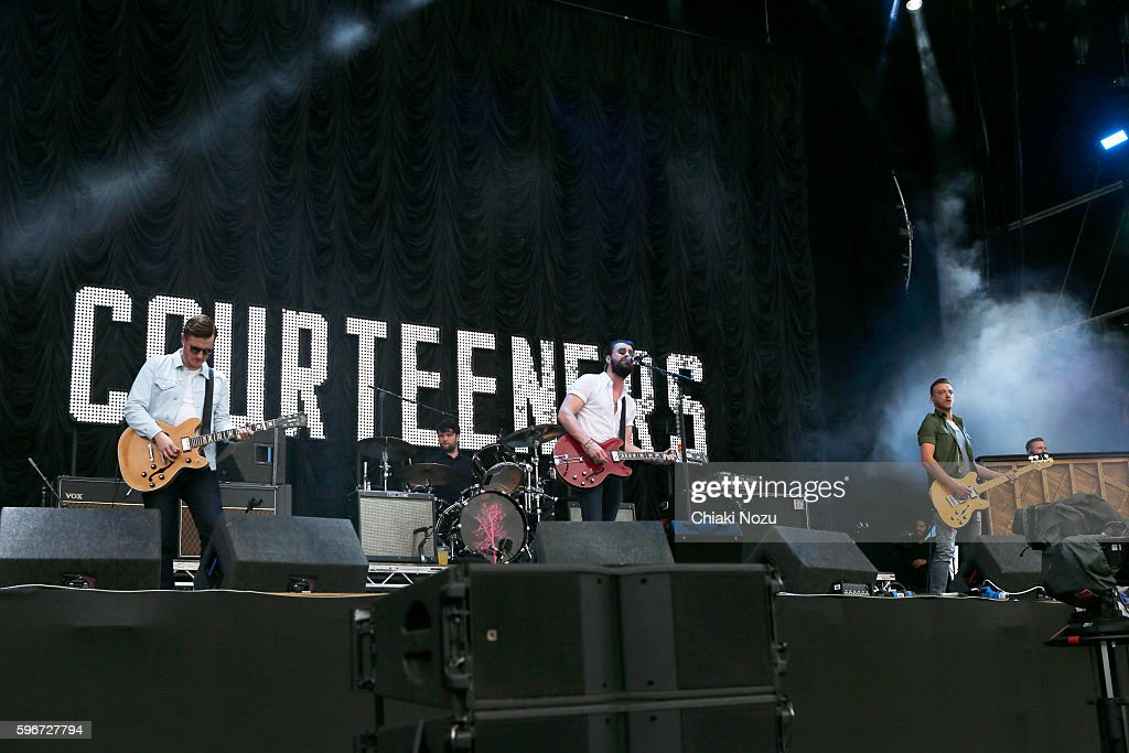Daniel Moores Michael Campbell Liam Fray and Joe Cross of The Courteeners perform on Day 2 of Reading Festival at Richfield Avenue on August 27 2016...