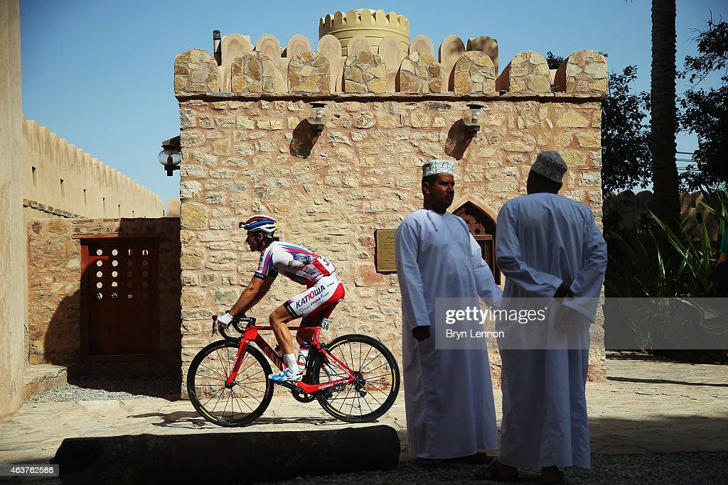 Daniel Moreno Fernandez of Spain and Team Katusha at the start of stage two of the 2015 Tour of Oman, a 195.5km road stage from Al Hazm Castle to Al Bustan on February 18, 2015 in Al Hazm Castle, Oman.