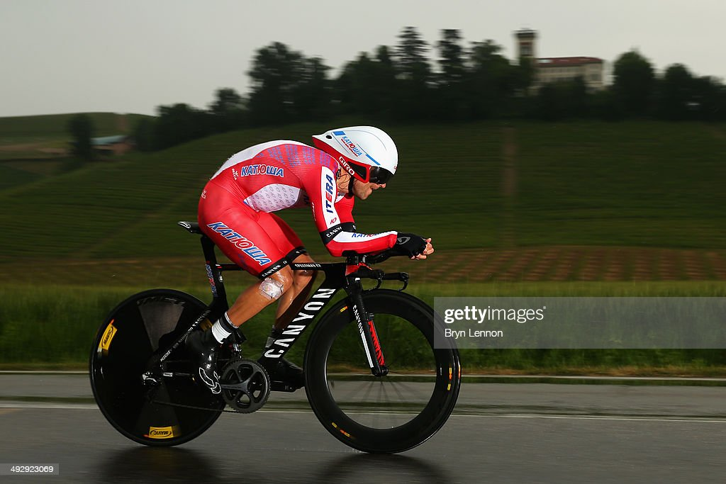 Daniel Moreno of Spain and Katusha in action during the twelfth stage of the 2014 Giro d'Italia, a 42km Individual Time Trial stage between Barbarasco and Barolo on May 22, 2014 in Barbarasco, Italy.