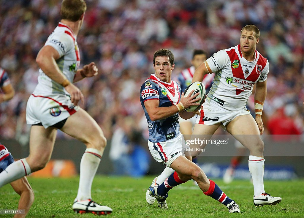 Daniel Mortimer of the Roosters runs with the ball during the round seven NRL match between the Sydney Roosters and the St George Illawarra Dragons at Allianz Stadium on April 25, 2013 in Sydney, Australia.