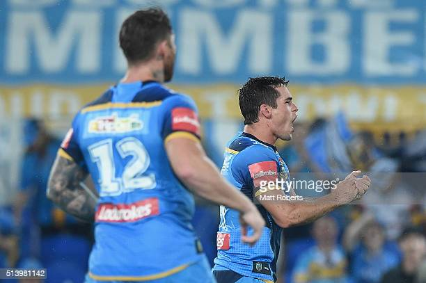 Daniel Mortimer of the Titans celebrates during the round one NRL match between the Gold Coast Titans and the Newcastle Knights at Cbus Super Stadium...