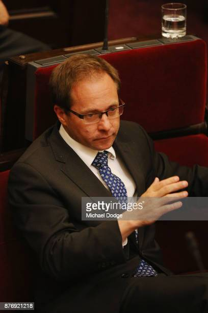 Daniel Mulino MP is seen first the first time in Parliament for a brief moment since he was taken to hospital several days ago on November 21 2017 in...