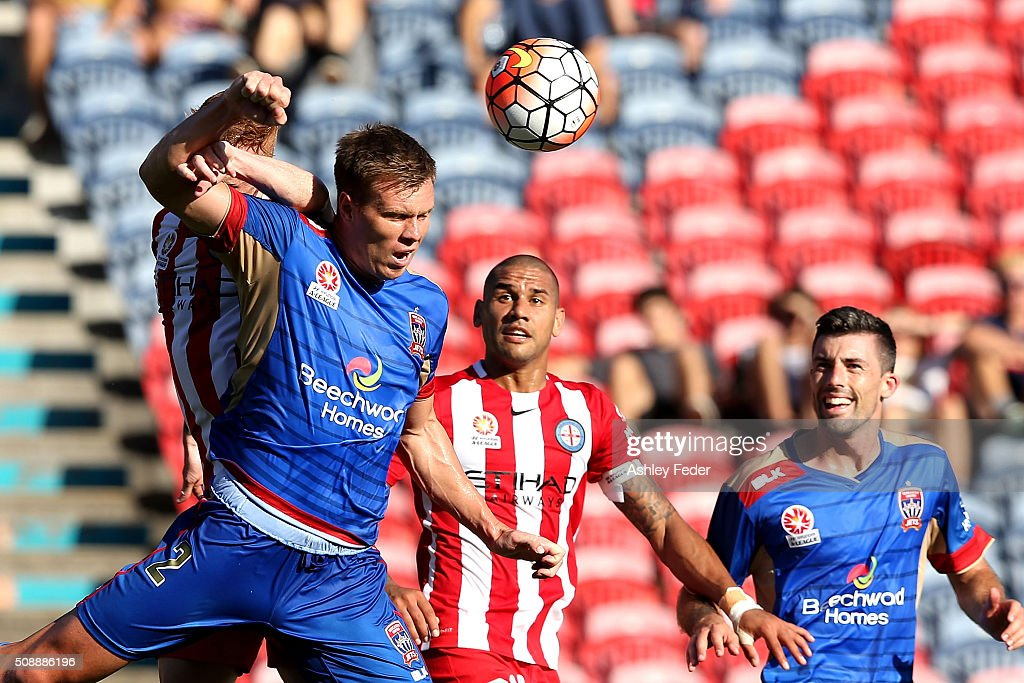 Daniel Mullen of the Jets heads the ball during the round 18 A-League match between the Newcastle Jets and Melbourne City FC at Hunter Stadium on February 7, 2016 in Newcastle, Australia.