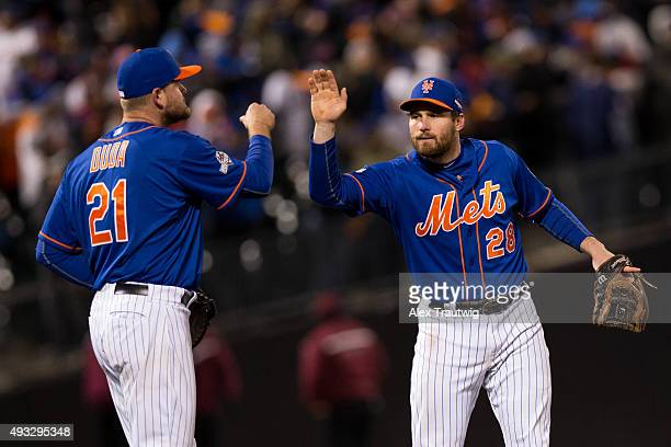 Daniel Murphy and Lucas Duda of the New York Mets celebrates defeating the Chicago Cubs in Game 2 of the NLCS at Citi Field on Sunday October 18 2015...