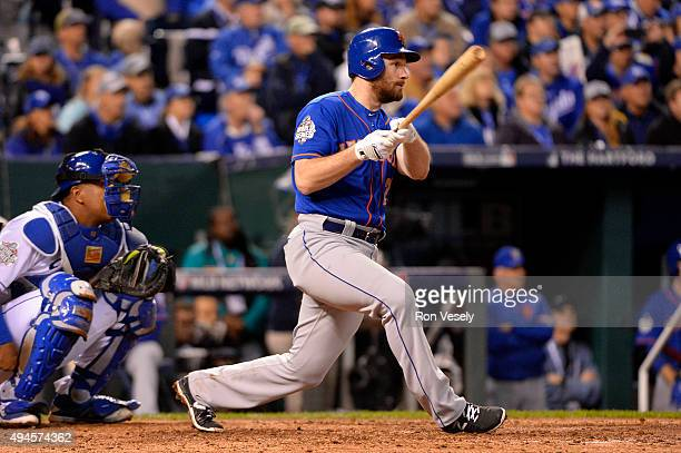 Daniel Murphy of the New York Mets bats during Game 1 of the 2015 World Series against the Kansas City Royals at Kauffman Stadium on Tuesday October...