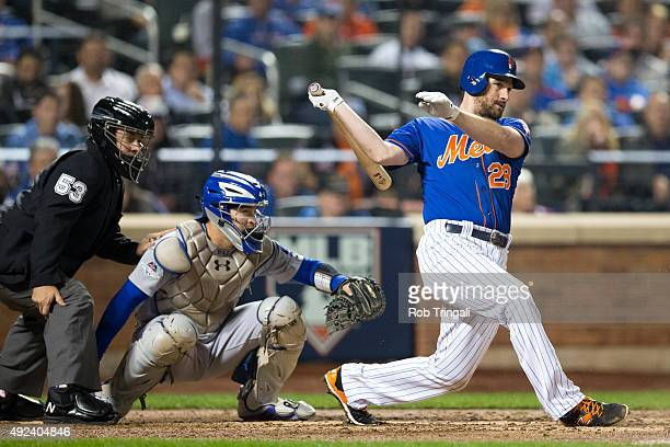 Daniel Murphy of the New York Mets bats during Game 3 of the NLDS against the Los Angeles Dodgers at Citi Field on Monday October 12 2015 in the...